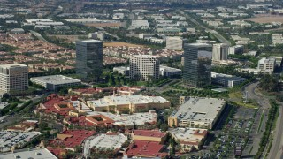 AX0159_169 - 8K stock footage aerial video of office buildings and shopping mall, Irvine, California