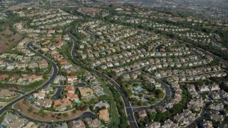 AX0159_185 - 8K stock footage aerial video of Mansions and tract homes in Laguna Niguel, California