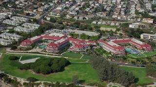 AX0159_197 - 8K stock footage aerial video of Laguna Cliffs Marriott Resort & Spa in Dana Point, California
