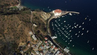 AX0159_252 - 8K stock footage aerial video of a bird's eye view of boats in the harbor in Avalon, Catalina Island, California