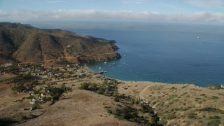 AX0160_018 - 8K stock footage aerial video of the small Two Harbors island community on Santa Catalina Island, California