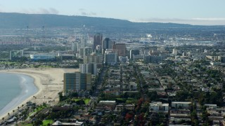 AX0160_060 - 8K stock footage aerial video of office high-rises in Downtown Long Beach, California