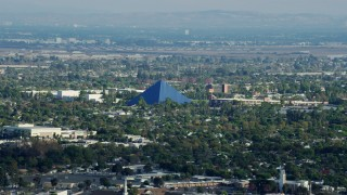 AX0161_001 - Aerial stock footage of Walter Pyramid at California State University Long Beach, California