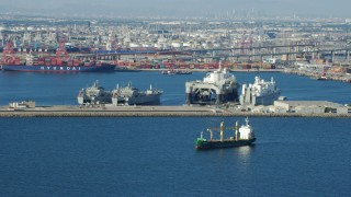 AX0161_011 - 8K stock footage aerial video of ships and a Sea Launch vessel at the Port of Long Beach, California