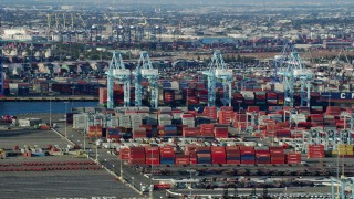 AX0161_013 - 8K stock footage aerial video of cargo containers and cranes at the Port of Los Angeles, California