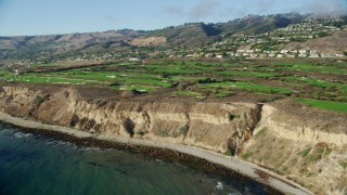 AX0161_021 - 8K stock footage aerial video of Trump National Golf Club on coastal cliffs in Rancho Palos Verdes, California