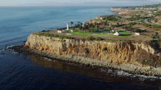 AX0161_027 - 8K stock footage aerial video approaching and flying by the Point Vicente Lighthouse in Rancho Palos Verdes, California