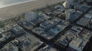 AX0161_072 - 8K stock footage aerial video of shops on the 3rd Street Promenade in Santa Monica, California