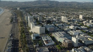 AX0161_073 - 8K stock footage aerial video of office buildings by PCH and Ocean Avenue in Santa Monica, California