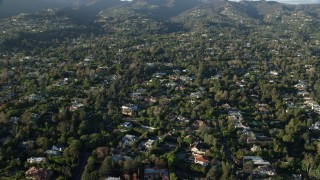 AX0161_086 - 8K stock footage aerial video flying by mansions in Brentwood, California