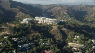 AX0161_088 - 8K stock footage aerial video of the Getty Museum, on a hilltop in Brentwood, California