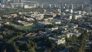 AX0161_089 - 8K stock footage aerial video of the College campus in Los Angeles, California