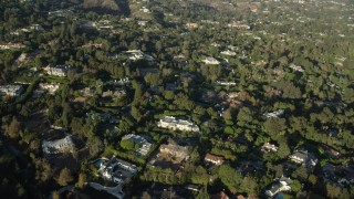 AX0161_097 - 8K stock footage aerial video of Bel Air mansions in Los Angeles, California