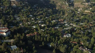 AX0161_098 - 8K stock footage aerial video of mansions in Beverly Glen, Los Angeles, California