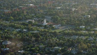 AX0161_106 - 8K stock footage aerial video of the Hawthorne School in Beverly Hills, California