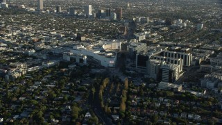 AX0161_119 - 8K stock footage aerial video of the Beverly Center mall and Cedars-Sinai Medical Center in Beverly Hills, California