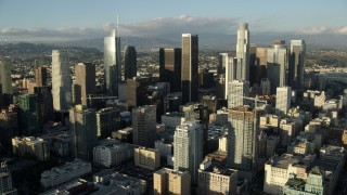 AX0162_008 - 8K stock footage aerial video of the giant skyscrapers of Downtown Los Angeles, California