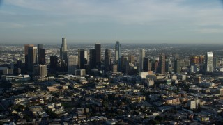 AX0162_024 - 8K stock footage aerial video flying by the skyscrapers in Downtown Los Angeles, California