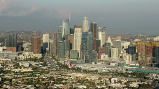 AX0162_029 - 8K stock footage aerial video of tall skyscrapers of the Downtown Los Angeles skyline, California
