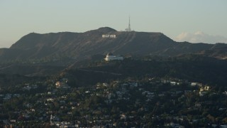AX0162_045 - 8K stock footage aerial video of the Hollywood Sign and Griffith Observatory in Los Angeles, California