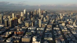 AX0162_064 - 8K stock footage aerial video of skyscrapers and high-rises in Downtown Los Angeles, California