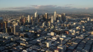 AX0162_066 - 8K stock footage aerial video of a view of towering skyscrapers and high-rises in Downtown Los Angeles, California