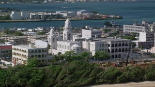 AX101_008 - Aerial stock footage of 5k Aerial Video of a Cathedral on Caribbean Island, San Juan Puerto Rico
