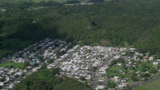 AX101_035 - 5k stock footage aerial video Fly over residential neighborhoods and forest, Dorado, Puerto Rico