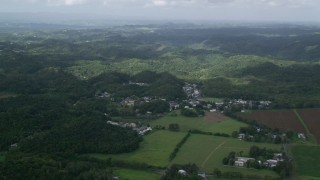 AX101_037 - Aerial stock footage of 5k Aerial Video of Rural homes set among forests and farmland, Vega Alta, Puerto Rico