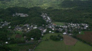 AX101_038 - Aerial stock footage of 5k Aerial Video of Rural homes and shops among forests, Vega Alta, Puerto Rico