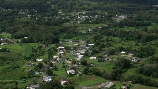 AX101_043 - Aerial stock footage of 5k Aerial Video of Rural neighborhood with lush green grass and trees, Vega Baja, Puerto Rico