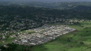 AX101_044 - Aerial stock footage of 5k Aerial Video of Residential neighborhoods, Morovis, Puerto Rico