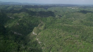 AX101_049 - Aerial stock footage of 5k Aerial Video Flying over tree covered mountains and jungle, Karst Forest, Puerto Rico