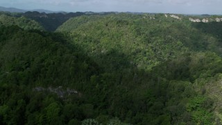 AX101_053 - Aerial stock footage of 5k Aerial Video Panning mountains and jungle, Karst Forest, Puerto Rico