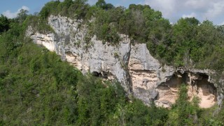 AX101_062 - Aerial stock footage of Lush green forests and mountains, Karst Forest, Puerto Rico