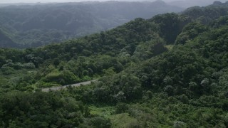 AX101_077 - 5k stock footage aerial video of a Highway cutting through lush green forests, Karst Forest, Puerto Rico