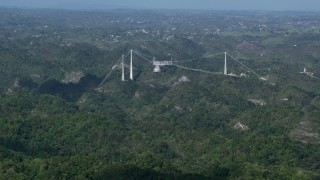 AX101_087 - 5k stock footage aerial video of Arecibo Observatory nestled among the lush green Karst Forest, Puerto Rico