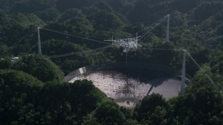 AX101_096 - 5k stock footage aerial video of Arecibo Observatory in lush green Karst forest, Puerto Rico