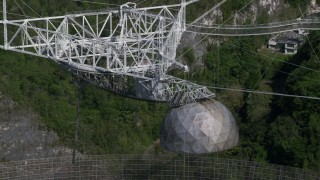 AX101_101 - 5k stock footage aerial video Orbiting the top of Arecibo Observatory, Puerto Rico