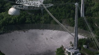 AX101_104 - 5k stock footage aerial video Orbiting closely to Arecibo Observatory, Puerto Rico