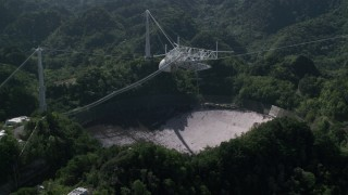 AX101_106 - 5k stock footage aerial video of Arecibo Observatory nestled in the trees, Puerto Rico