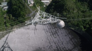 AX101_118 - 5k stock footage aerial video Ascending above Arecibo Observatory , Puerto Rico