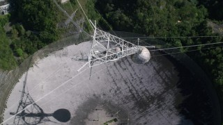 AX101_119 - 5k stock footage aerial video Ascending above Arecibo Observatory, Puerto Rico