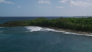 AX101_154 - 5k stock footage aerial video of a Tree lined coast and blue Caribbean water, Arecibo, Puerto Rico