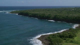 AX101_195 - 5k stock footage aerial video of Stunning blue waters along a tree lined coast, Manati, Puerto Rico