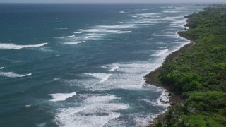 AX101_197 - 5k stock footage aerial video of Stunning blue waters and waves along a tree lined coast, Vega Baja, Puerto Rico