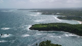 AX101_212 - 5k stock footage aerial video of Palm trees on the coast along blue water, Vega Alta, Puerto Rico