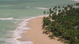 AX102_024 - 5k stock footage aerial video Flying by a couple strolling on the beach along turquoise water, Loiza, Puerto Rico
