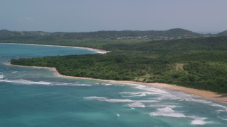 AX102_053 - 5k stock footage aerial video of a Jungle and beach along clear blue waters, Luquillo, Puerto Rico