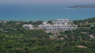 AX102_057 - 5k stock footage aerial video of The Ocean Club at Seven Seas vacation resort, Fajardo, Puerto Rico